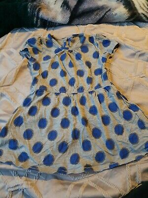 Matalan Girls Grey And Blue Spotted Summer Dress Age 3-4 Years