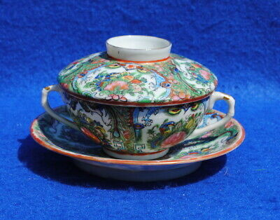 Antique Chinese Canton Famille Rose Cup Saucer & Cover Decorated Dragons Birds A