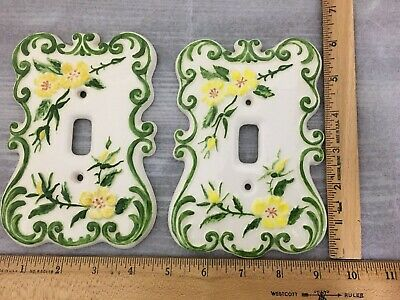 HOLLAND MOLD Wall Switch Plate Cover Hand Painted Vintage/Cottage Floral Toggle