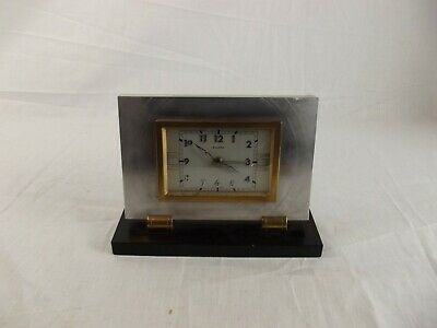 French Art Deco style Bayard mantel silvered brass clock
