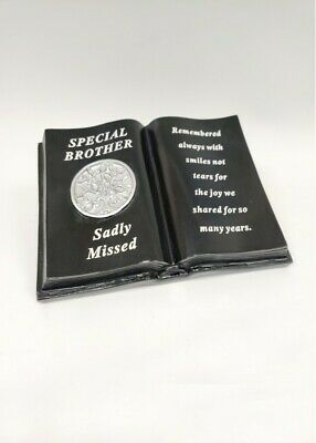Black & Silver Memorial Brother Tree Of Life Book With Verse Plaque Funeral
