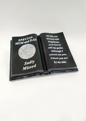 Black & Silver Memorial Mum & Dad Tree Of Life Book With Verse Plaque Funeral