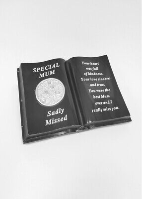 Black & Silver Memorial Mum Tree Of Life Book With Verse Plaque Funeral Cemetery