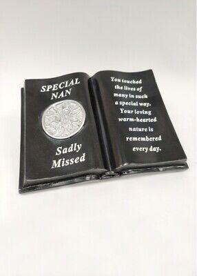Black & Silver Memorial Nan Tree Of Life Book With Verse Plaque Funeral Cemetery