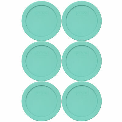 Pyrex 7200-PC Sea Glass Blue/Green Plastic Round Replacement Lid (6-Pack)