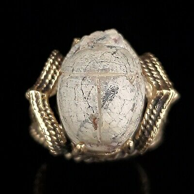 Estate Egyptian Faience Scarab 14k Yellow Gold Cocktail Ring Vintage Luck Gift