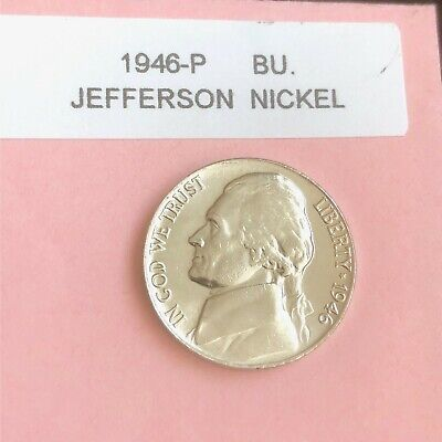 1946 P D and S JEFFERSON NICKELS  CHOICE TO GEM BU GREAT MINT LUSTER