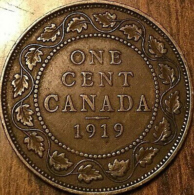 1919 Canada Large Cent Penny Large 1 Cent Coin
