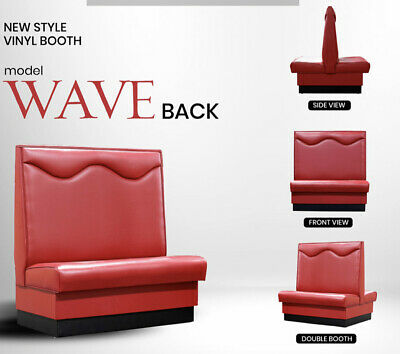 """Restaurant Booth single & double 48""""Long x 48"""" high Upholstered Wave back"""