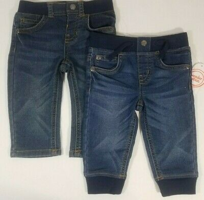 Wonder Nation size 12M baby boy straight leg and jogger jeans 2 pairs (a8-3)
