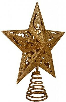 Christmas Tree Topper Ornament 5 Point Star 8 Gold Glittered Kurt Adler Plastic