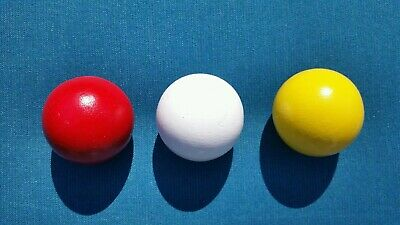(3) -Three-Lg Pallino Wood Target Bocce Balls- Made In Italy- Red,White & Yellow