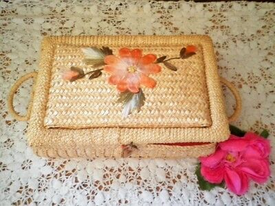 VINTAGE SEWING BASKET SMALL SEWING BOX CANE ORANGE FLOWER see MORE LISTED