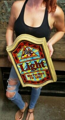 Vintage Blatz Light On Tap Lighted Beer Sign Stained Glass Look