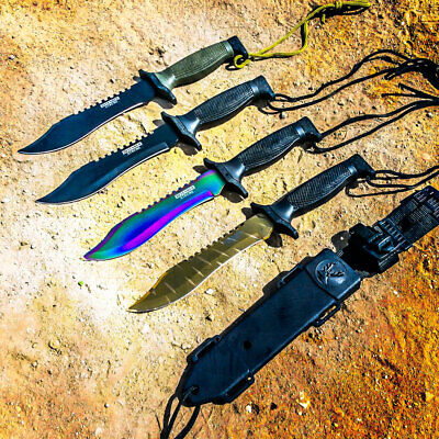 "12"" MILITARY SURVIVAL BOWIE HUNTING KNIFE w/ SHEATH Fixed Blade Army New"
