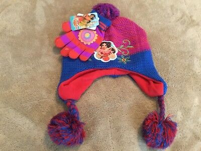 New DISNEY Princess Elena of  Avalor Girls Winter Hat and Gloves One Size 4-16