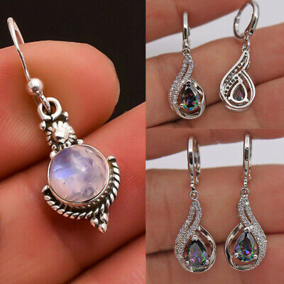 Womens Silver Vintage Hollow Waterdrop Moonlight Stone Drop Dangle Stud Earrings
