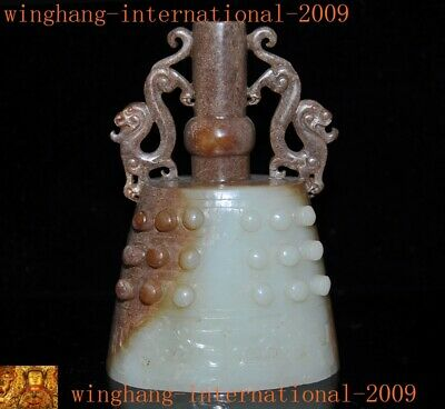 Chinese dynasty Hetian jade carved Dragon statue Funeral Bell Chung chimes clock