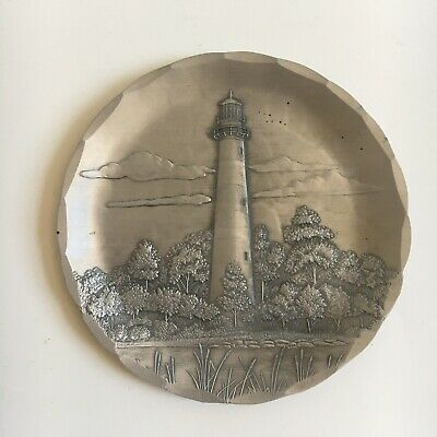 """Wendell August Forge Hand Hammered 4 1/2"""" Assateague Lighthouse Coaster"""