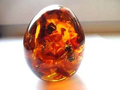 Egg souvenir with Baltic amber and insects inside !!!