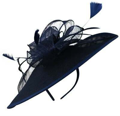 New Soft Sinamay Fascinator on Alice Band With Feathers And Sinamay Loops