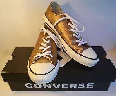 CONVERSE ALL STAR Metalic Gold Low Tops Womens UK Size 5 (135583C)