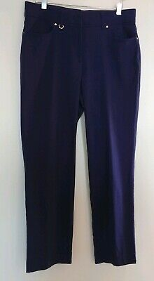JM Collection Size 10 Navy Blue Stretch Straight Gold Career Dress Women's Pants