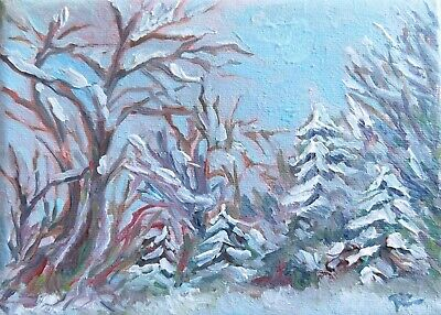WINTER RAVINE 5x7 NATURE WOODLANDS LANDSCAPE Original Oil Painting by Patricia