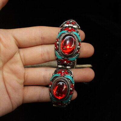 Decor Collectable Miao Silver Inlay Flowers & Red Beads Exquisite Hand Catenary