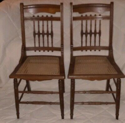 2 Antique Victorian Oak Stick And Ball Dining Chairs Cane Seat Accent Parlor