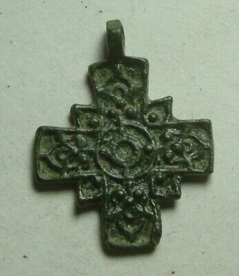 Rare Original Religious Byzantine bronze artifact intact cross pendant decorated