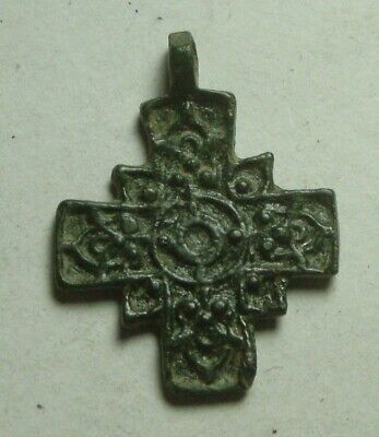 Rare Religious Medieval Christian bronze artifact intact cross pendant inscirbed