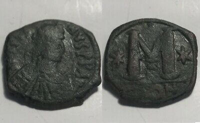 Rare JUSTIN I 518AD Byzantine Constantinople Follis Authentic Ancient Coin Stars