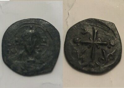 Rare genuine ancient BYZANTINE coin Anonymous follis Nicephorus III Christ/Cross