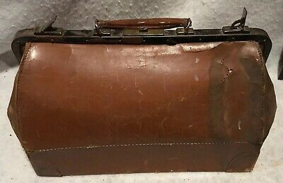 Antique Vintage Leather Doctor Bag Marked Warranted Genuine Cowhide 18 The Look!