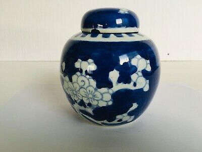 Antique 20th Century Chinese Blue and White Porcelain Cherry Blossoms Lidded Jar