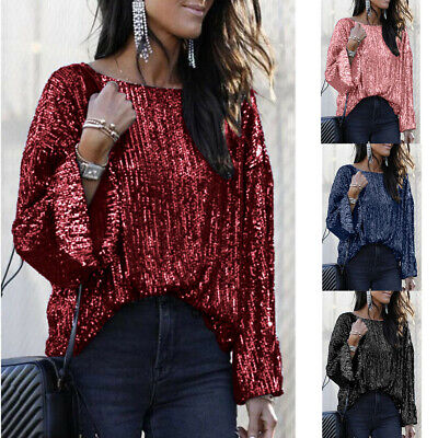 Women's Half Sleeve Sequin Sparkly Glitter Tops Party Clubwear Blouse T-shirt UK