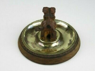 Art Deco' 1940 Antique Ashtrays Table With Statue Wood Cane With Pipe