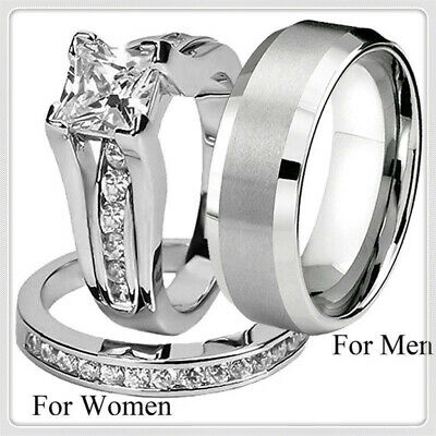 His and Hers Silver Stainless Steel & Titanium Wedding Band Ring Jewelry Set