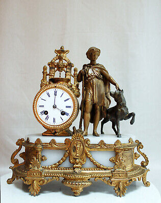 Antique 1860 French Clock  Statue Romantic Sheperd With Dog