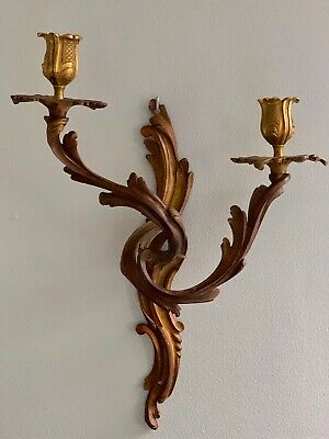 Antique Bronze Feather Plume Wall Sconce Candle Holder #1
