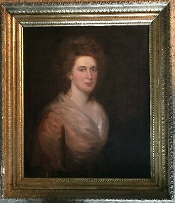 ANTIQUE 19th CENTURY REALIST AMERICAN PORTRAIT RED HAIRED LADY IN PEACH DRESS