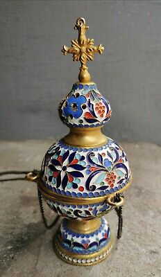 Vintage Russian Orthodox Censer Incense Burner Enamel Bronze Gold Plated Icon