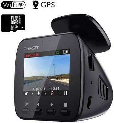 Wifi Dash Cam with GPS, 1296P Full HD Dash Camera for Cars with 16GB Memory Card