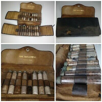 Antique Medical Apothecary Kit Parke, Davis Leather Travel Case Pharmacy Vials