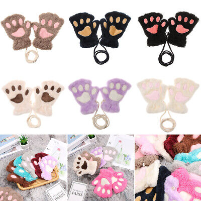 Children Gloves Winter Warm Plush Mittens Cat's Paw Short Fingerless Gloves Hot