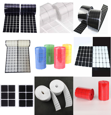 Hook & Loop Sticky Self Adhesive Coins Squares Rectangles White