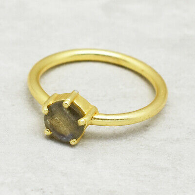 Brass 22k Yellow Gold Plated Labradorite Ring Size 7 US Christmas Gifts