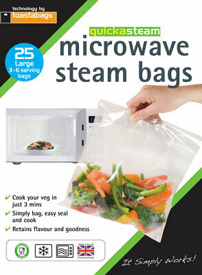 25 x Microwave Steam Steamer Bags Large Size Healthy Cooking by Toastabags