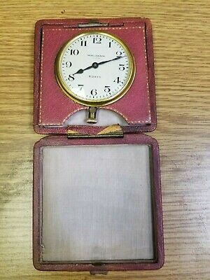 Antique Waltham 8 Day Clock In Original Leather Case